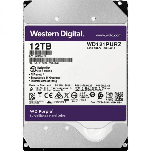 WD121PURZ Жесткий диск WesternDigital Purple 12TB WD121PURZ Накопители видеоархива Жесткие диски, 11799.00 грн.
