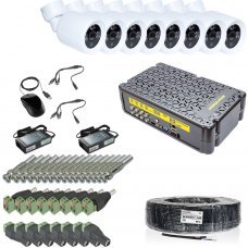 KIT-3MP-8CC Комплект видеонаблюдения на 8 камеры 3 Мп Готовые комплекты Аналоговые комплекты видеонаблюдения, 8765.00 грн.