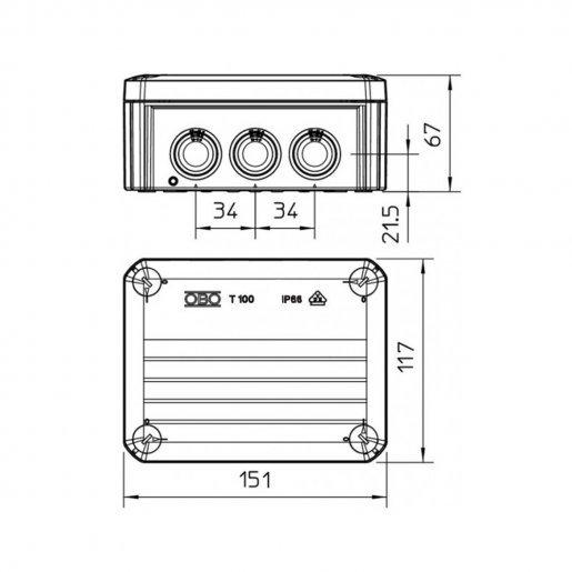 Коробка распределительная OBO T-100 151x117x67 IP66 Комплектующие Коробки монтажные, 136.00 грн.