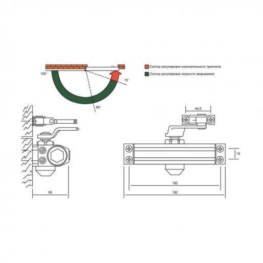 Доводчик дверной CISA 1.60450.04.0.88 Периферия Доводчики двери, 1246.00 грн.