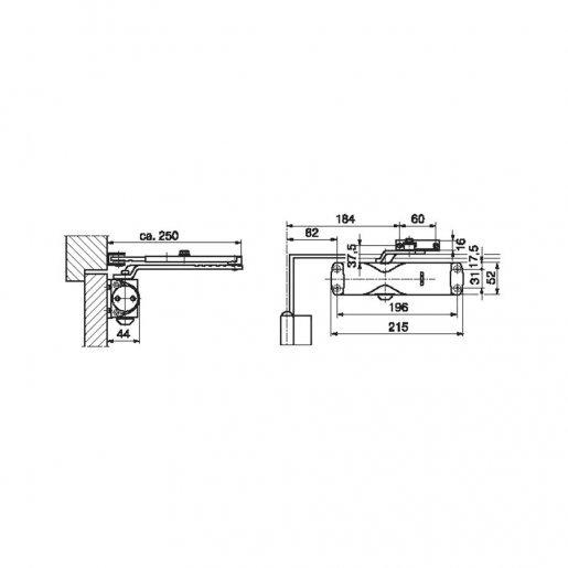Доводчик дверной Geze TS 1000 ЕN 2/3 тяга с фиксацией Периферия Доводчики двери, 1275.00 грн.