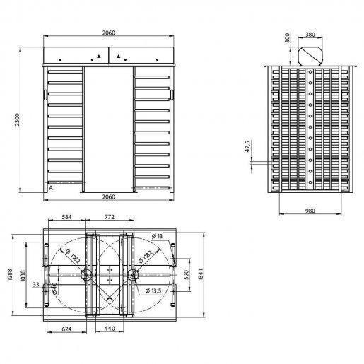 Полно-ростовой двух-проходной роторный турникет Steelarm Sesame Twin Турникеты Полноростовые, 336577.00 грн.
