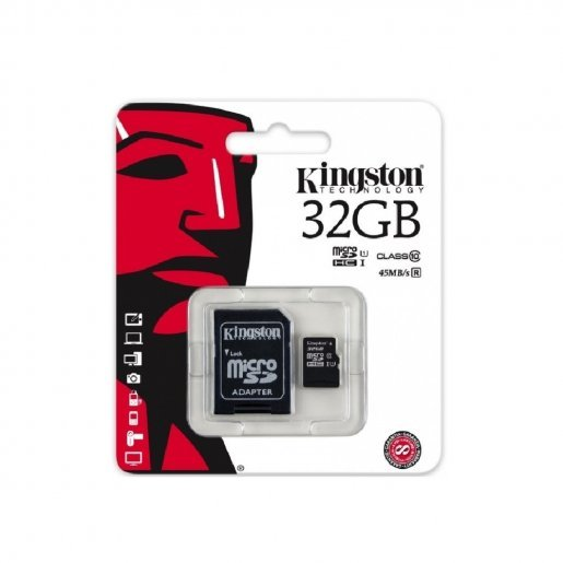 Карта памяти Kingston MicroSDHC/MicroSDXC 32GB Canvas Select Class 10 UHS-I + SD адаптер (SDCS/32GB) Накопители видеоархива SD-карты, 169.00 грн.