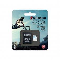 Карта памяти Kingston 32GB microSDHC C10 UHS-I U3 + SD адаптер Action (SDCAC/32GB) Накопители видеоархива SD-карты, 549.00 грн.