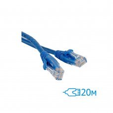 Патч-корд 20м UTP Cat.5e литой синий RJ45, CCA Кабельная продукция Патчкорды, 109.00 грн.