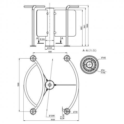 Полу-ростовой роторный турникет Steelarm Star-GS Турникеты Роторные, 99932.00 грн.