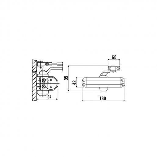 Доводчик дверной ECO-Schulte TS-10 ЕN 2/3/4 с тягой Периферия Доводчики двери, 716.00 грн.